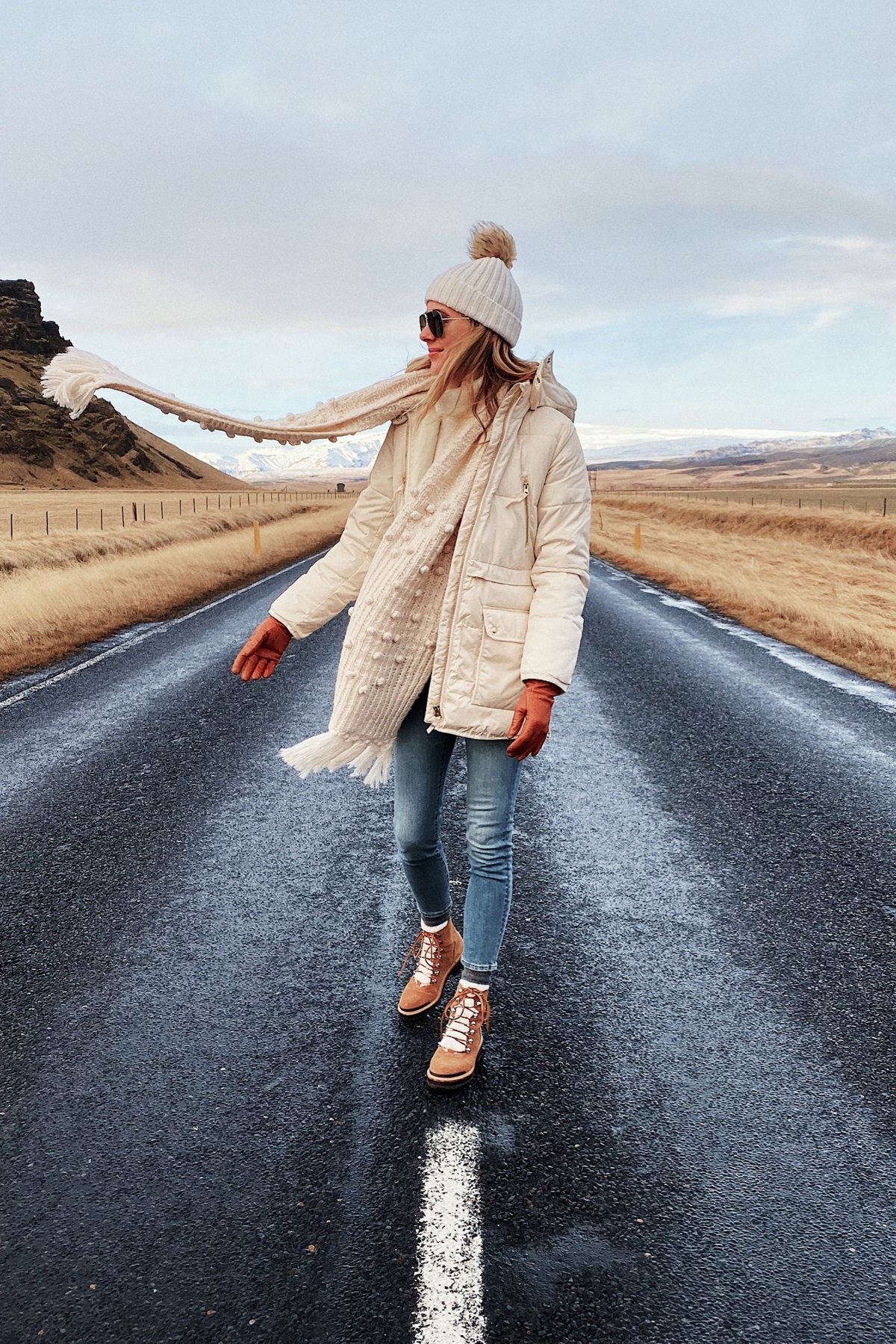 Fashion Jackson Wearing Jcrew White Puffer Coat White Beanie White Scarf Winter Boots Iceland Itinerary Travel Guide