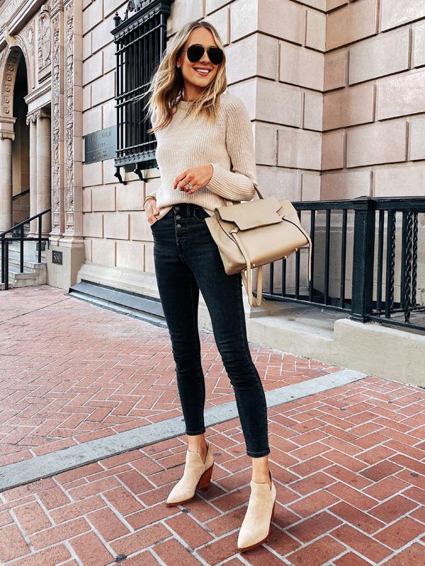 Fashion Jackson Wearing Jenni Kayne Cashmere Sweater Black Jeans Tan Booties Fall Outfit