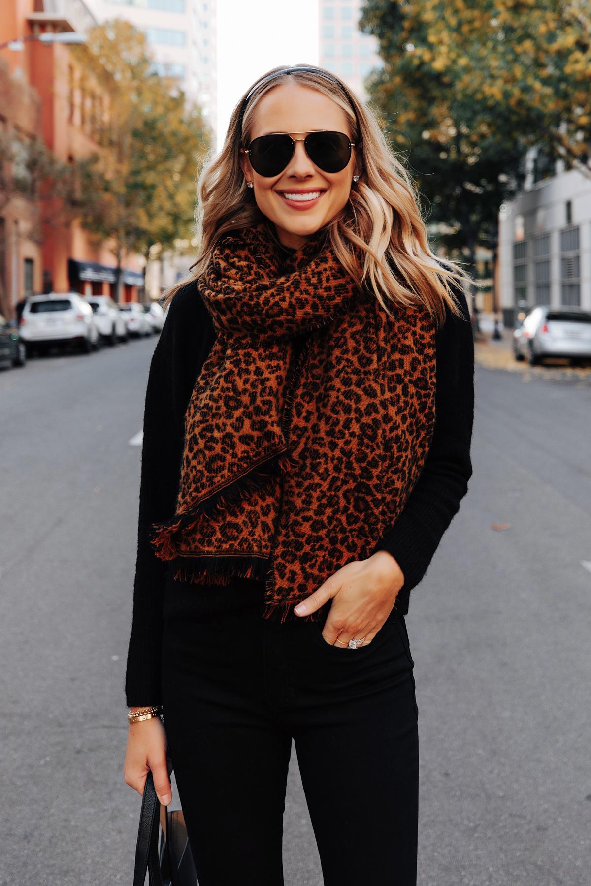 Fashion Jackson Wearing Leopard Blanket Scarf Black Headband Black Sweater