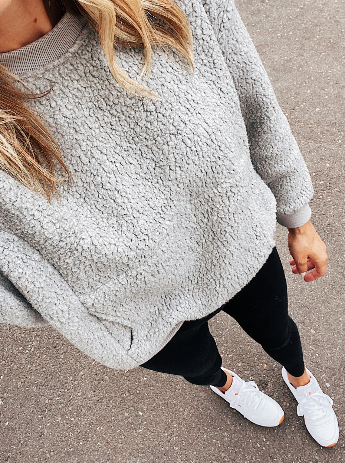 Fashion Jackson Wearing Madewell Grey Fleece Sweatshirt Black Leggings White Sneakers