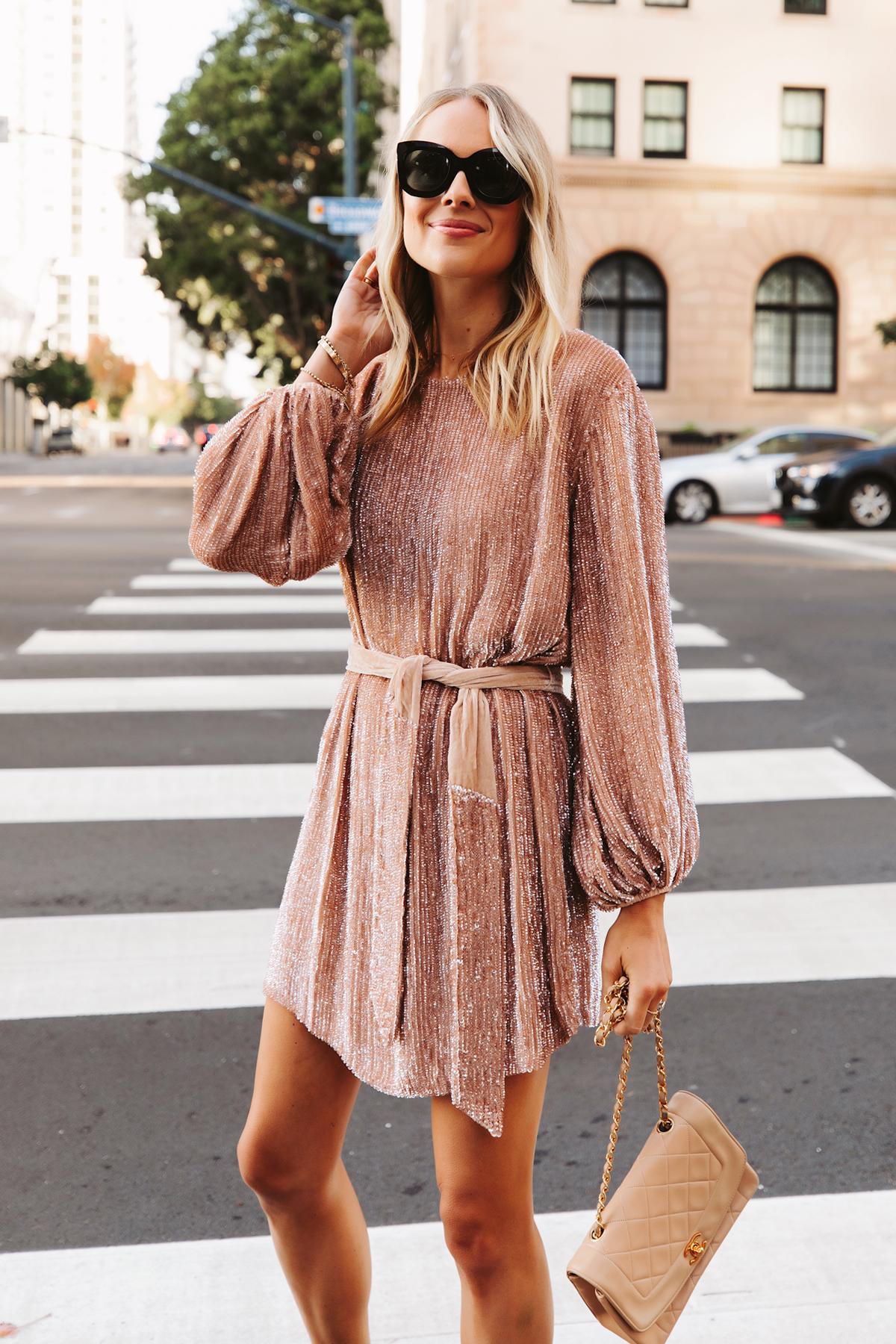 Fashion Jackson Wearing Retrofete Blush sequin holiday party dress Chanel Beige Handbag 1