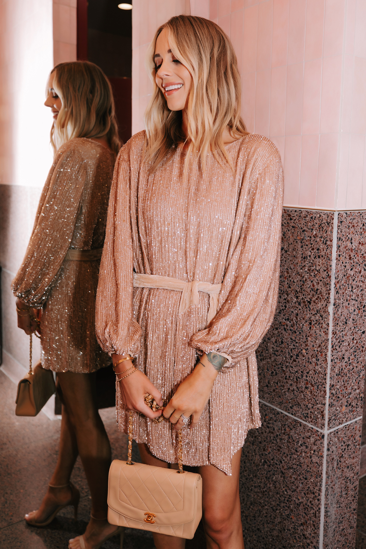 Fashion Jackson Wearing Retrofete Blush sequin holiday party dress Chanel Beige Handbag 5