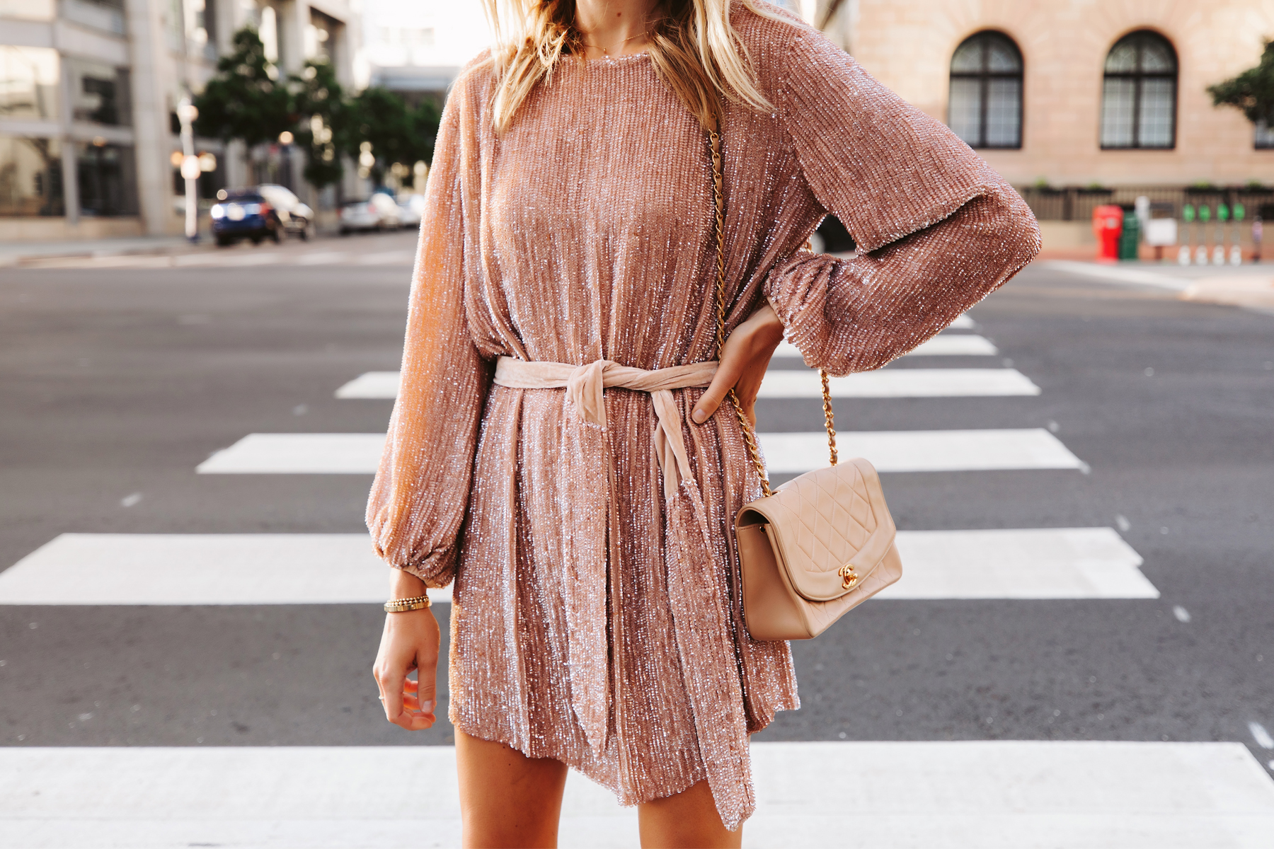 Fashion Jackson Wearing Retrofete Blush sequin holiday party dress Chanel Beige Handbag