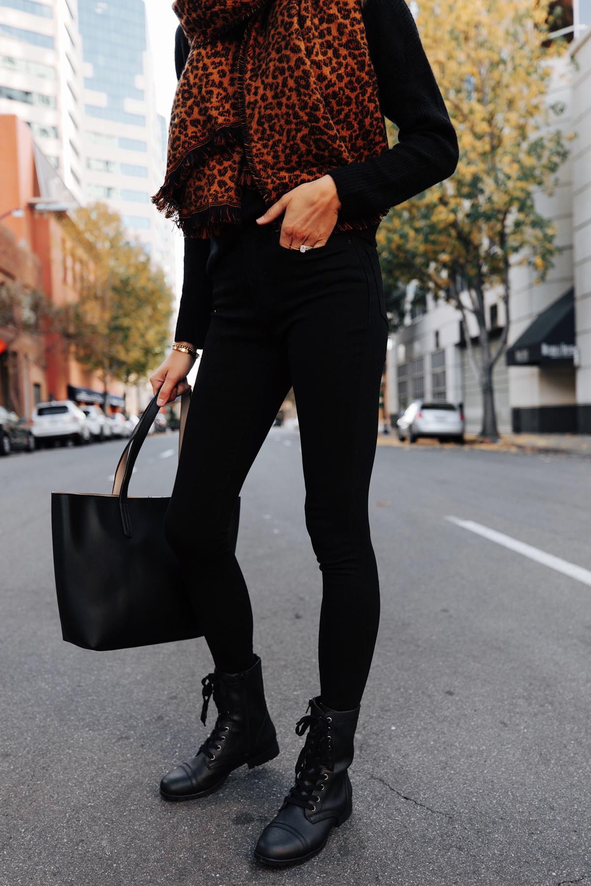 Fashion Jackson Wearing Walmart Combat Boots Black Skinny Jeans Black Sweater Leopard Blanket Scarf Winter Accessories