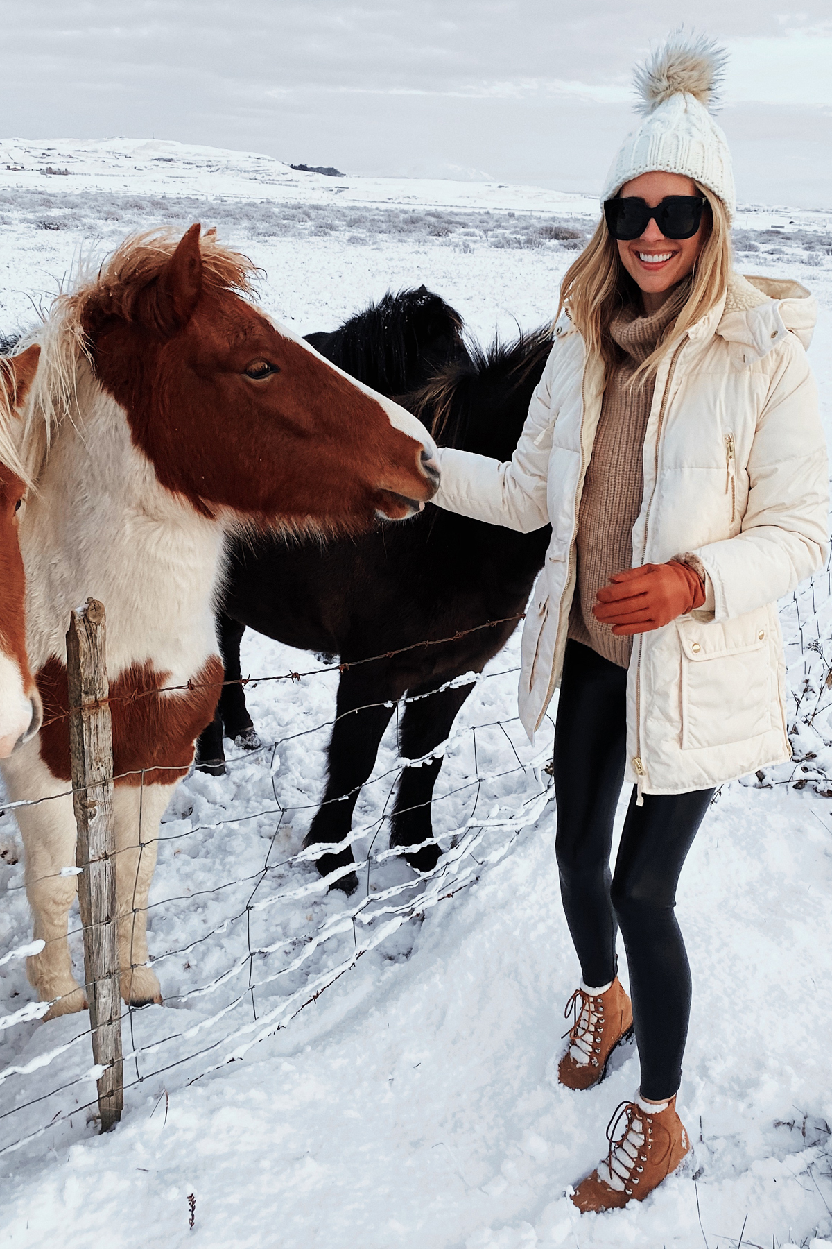 Fashion Jackson Wearing White Puffer Coat Winter Boots Iceland Horses Iceland Travel Guide