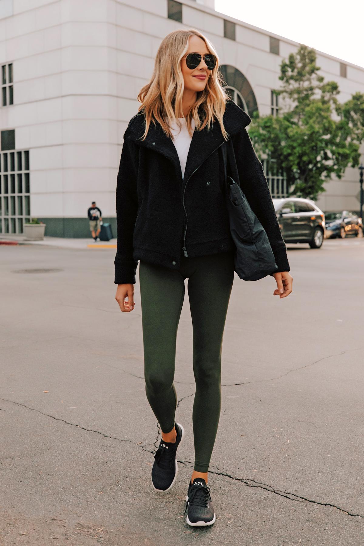 Fashion Jackson Wearing lululemon Align Leggings Dark Olive Black Sherpa Black APL Sneakers