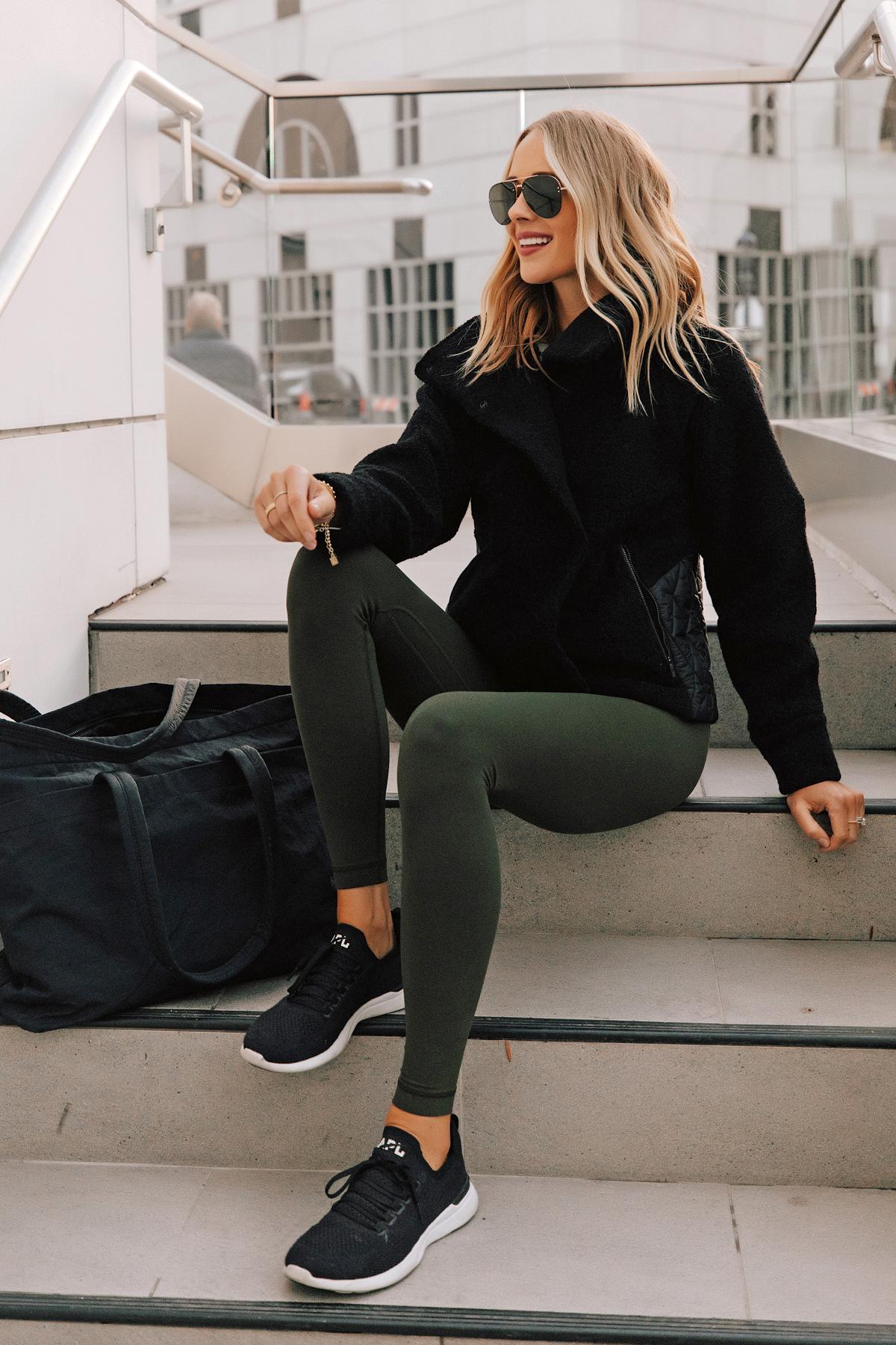 Fashion Jackson Wearing lululemon Align Leggings Dark Olive Black Sherpa Jacket Black APL Sneakers Black Tote