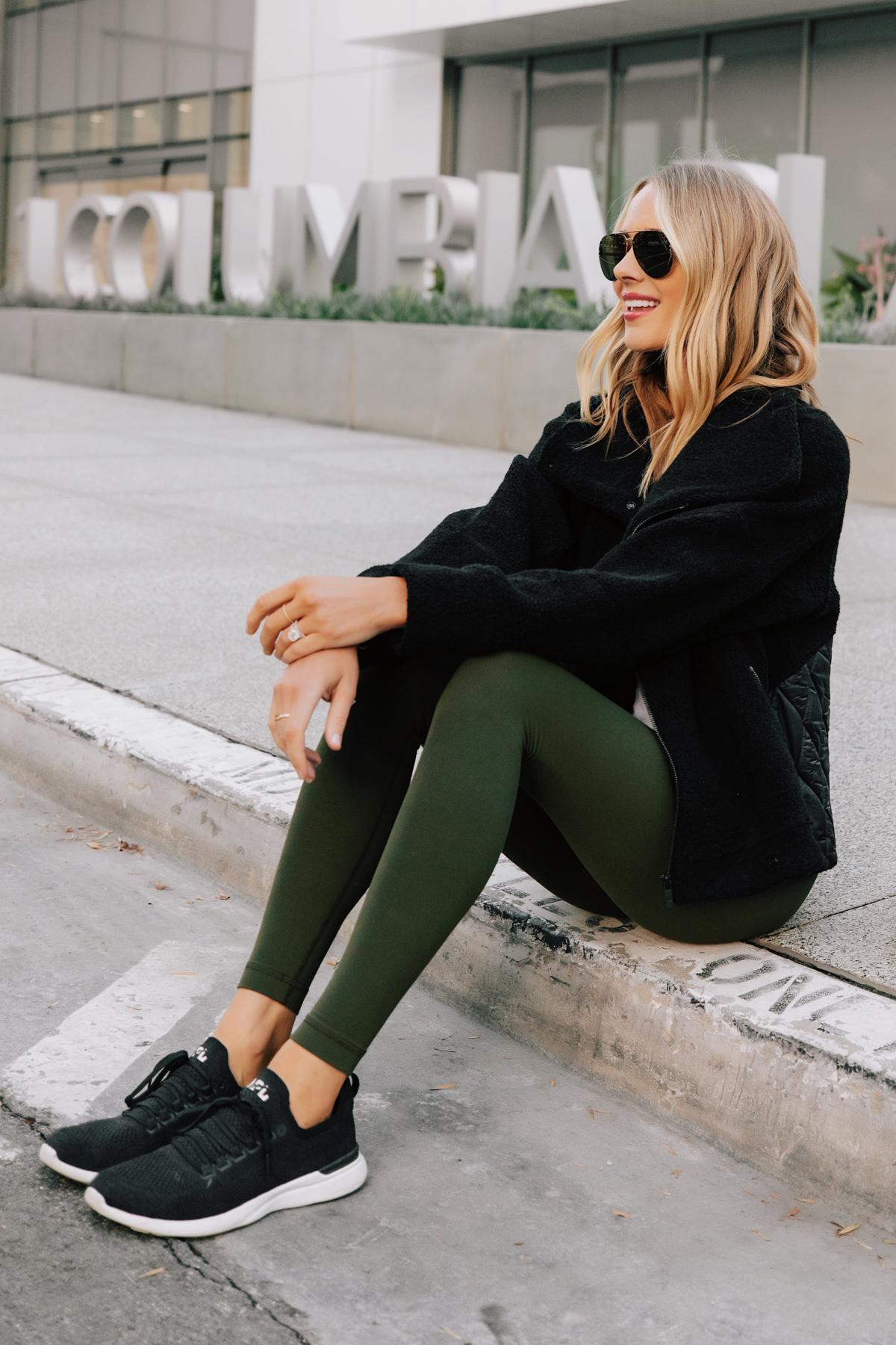 Fashion Jackson Wearing lululemon Align Leggings Dark Olive Black Sherpa Jacket Black APL Sneakers