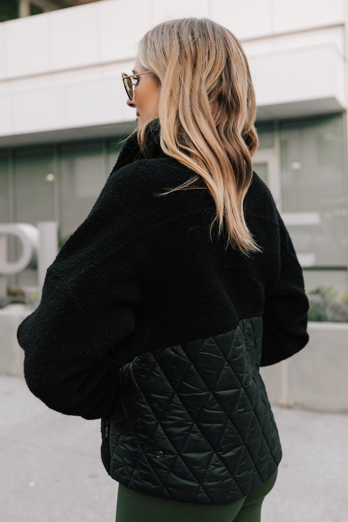 Fashion Jackson Wearing lululemon Black Sherpa Jacket 2