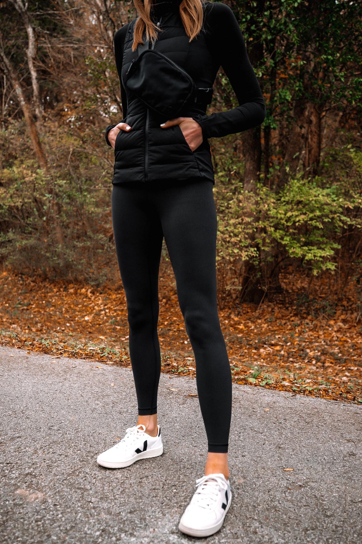 Fashion Jackson Wearing lululemon Black Vest lululemon Black Belt Bag lululemon Black Leggings Veja Sneakers 1