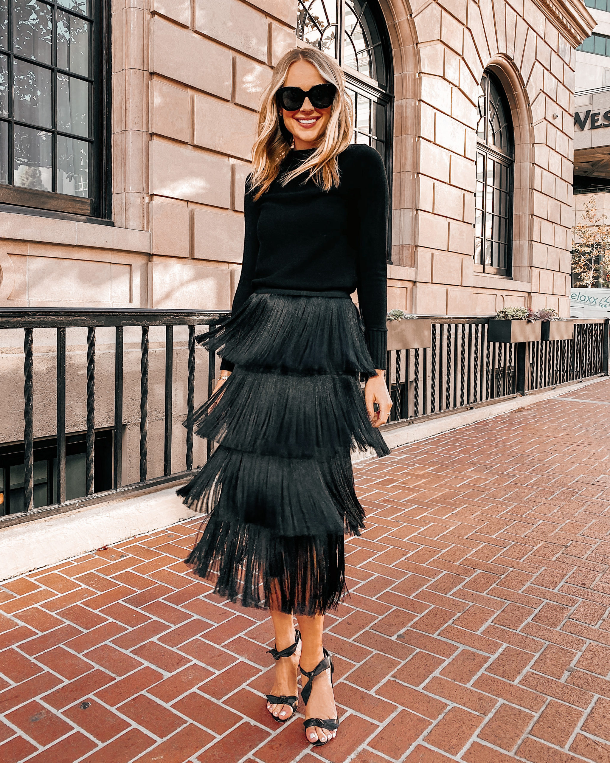 Fashion Jackson Wearing Black Sweater Black Fringe Midi Skirt