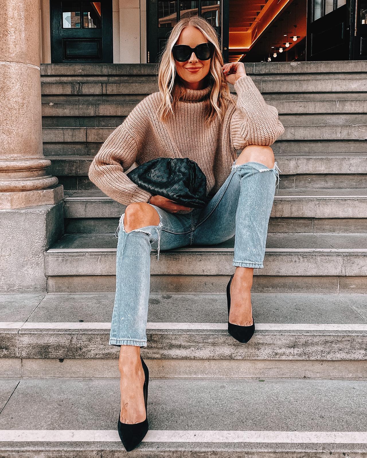 Fashion Jackson Wearing Anine Bing Camel Sweater Ripped Jeans Black Pumps