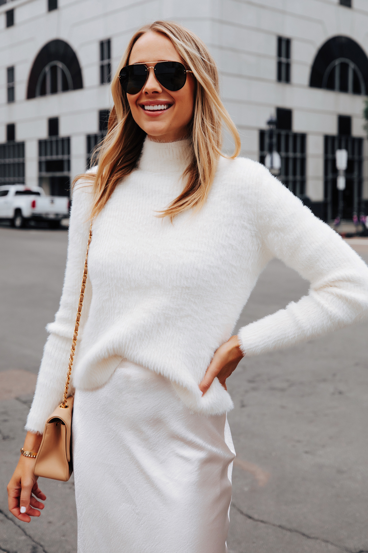 Fashion Jackson Wearing Banana Republic Fuzzy White Sweater White Skirt