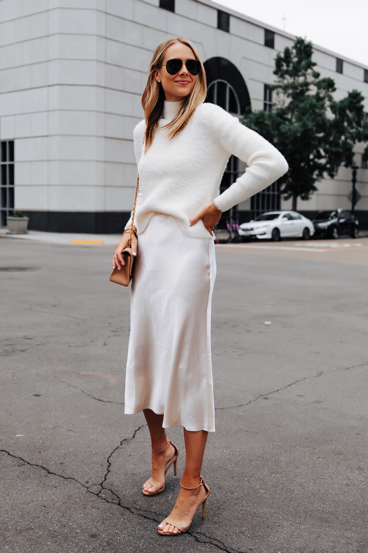 Fashion Jackson Wearing Banana Republic White Fuzzy Sweater White Slip Midi Skirt Winter White Party Outfit 2