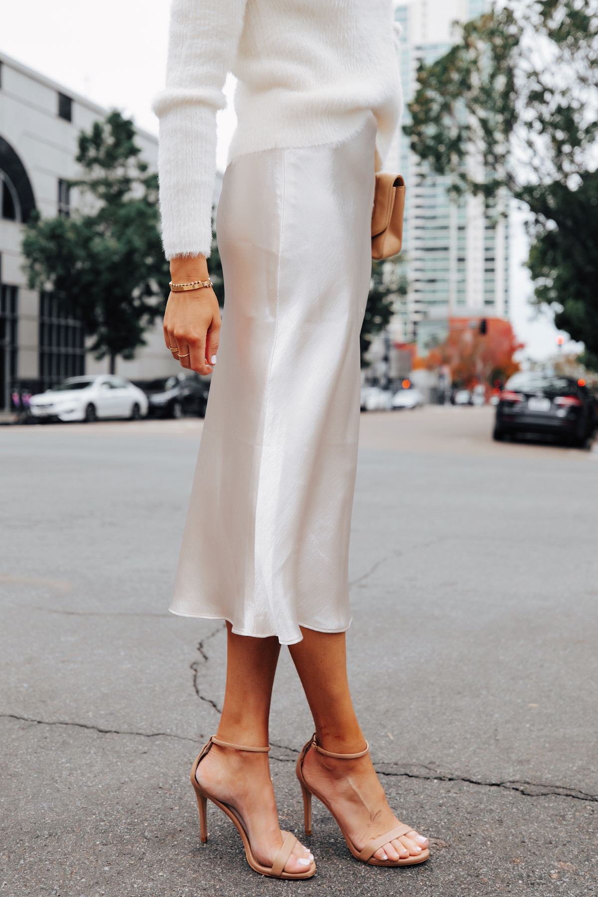 Fashion Jackson Wearing Banana Republic White Slip Midi Skirt White Sweater Winter White Party Outfit