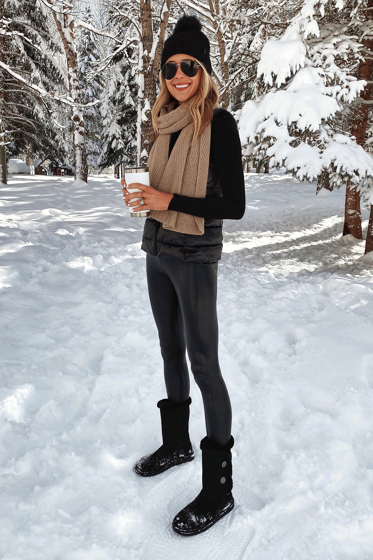 Fashion Jackson Wearing Black Puffer Vest Tan Cashmere Scarf Commando Faux Leather Leggings Winter Boots Ski Trip Outfit