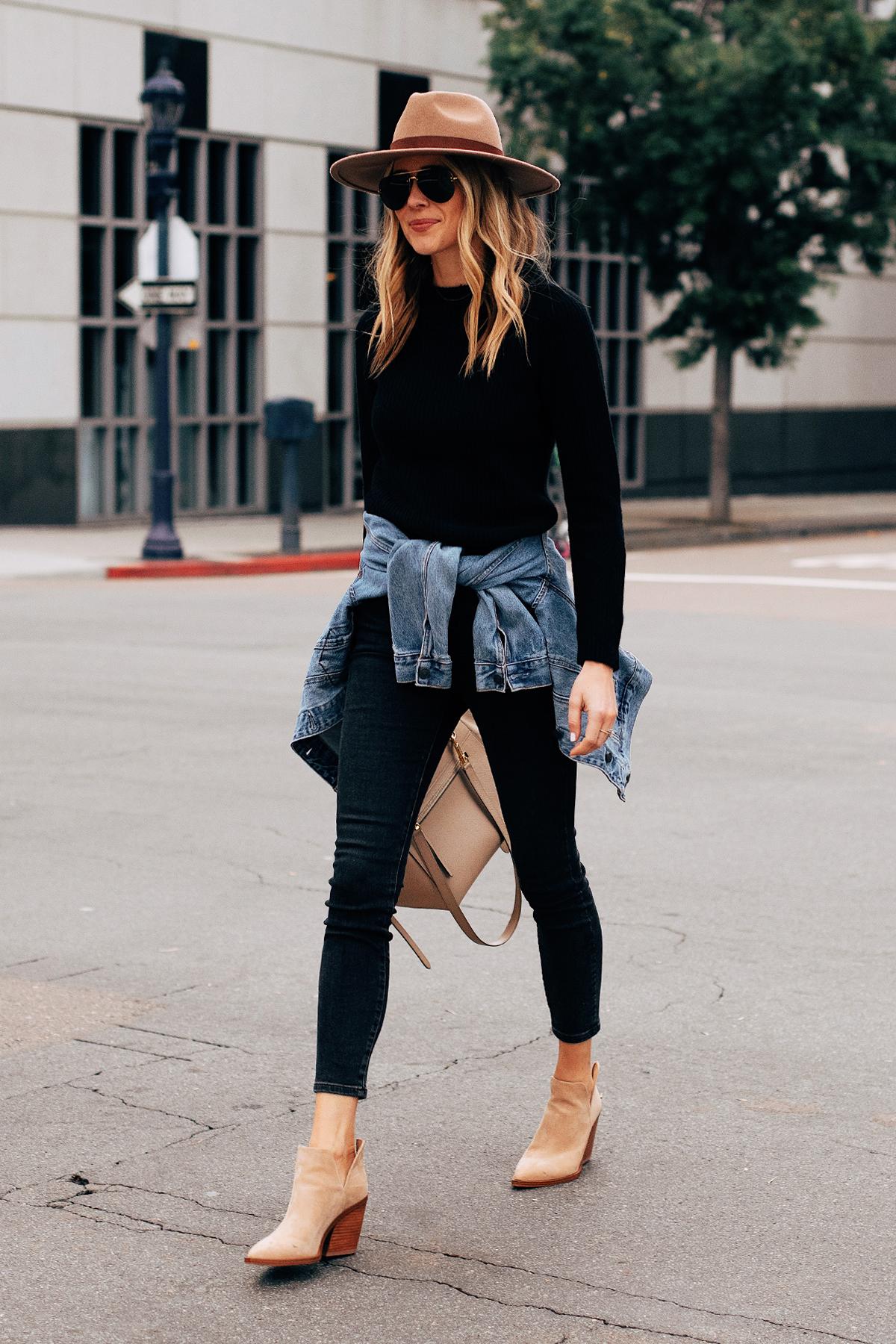 Fashion Jackson Wearing Black Sweater Black Skinny Jeans Denim Jacket Tan Booties Tan Wide Brim Hat