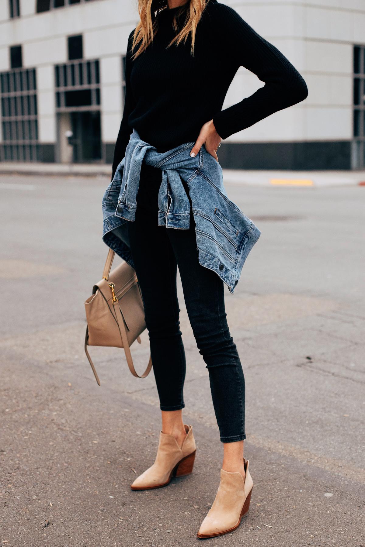 Fashion Jackson Wearing Black Sweater Black Skinny Jeans Denim Jacket Tan Booties