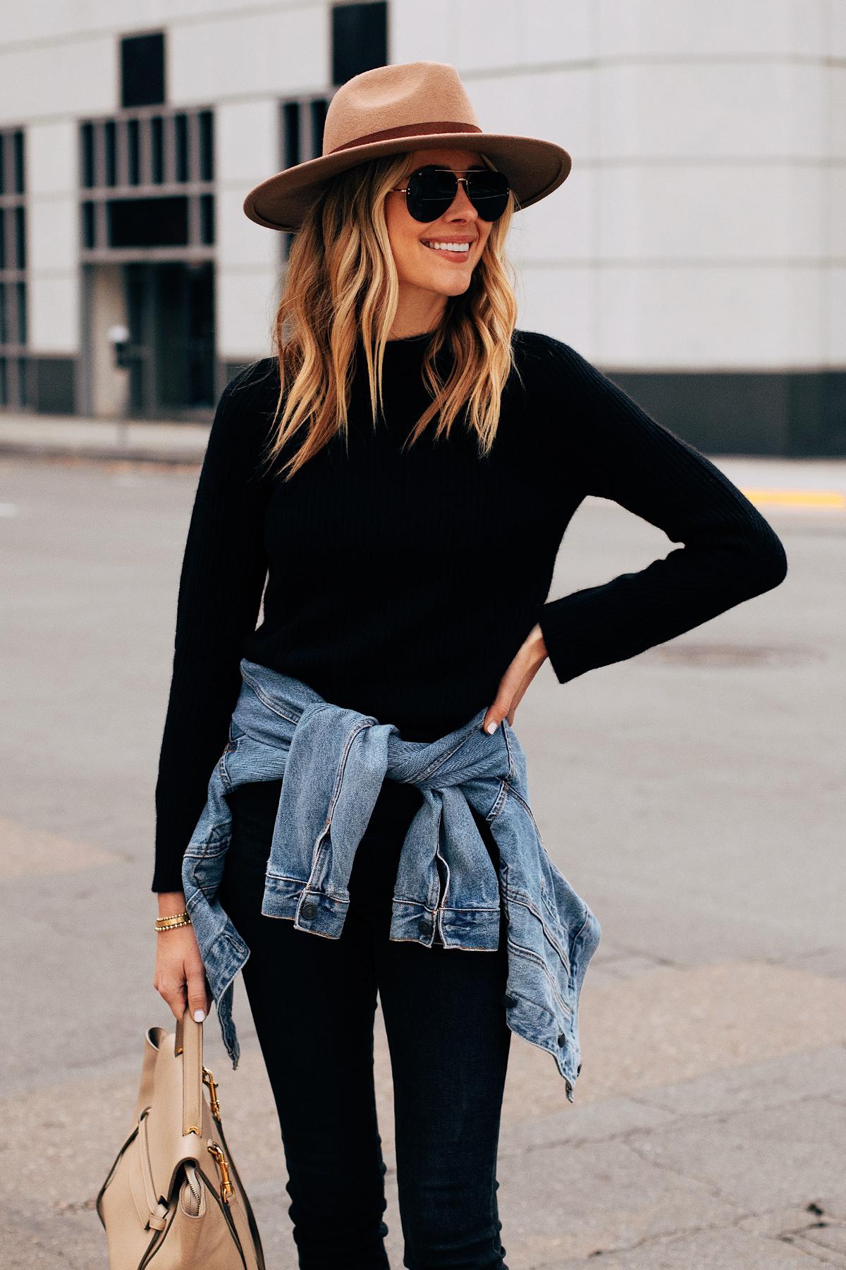 Fashion Jackson Wearing Black Sweater Black Skinny Jeans Denim Jacket Tan Wide Brim Hat