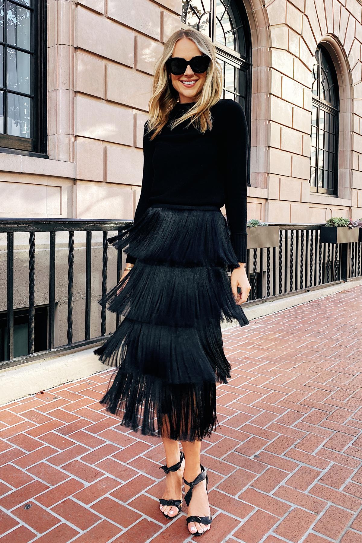 Fashion Jackson Wearing Black Sweater Black Sweater Black Fringe Skirt NYE Outfit