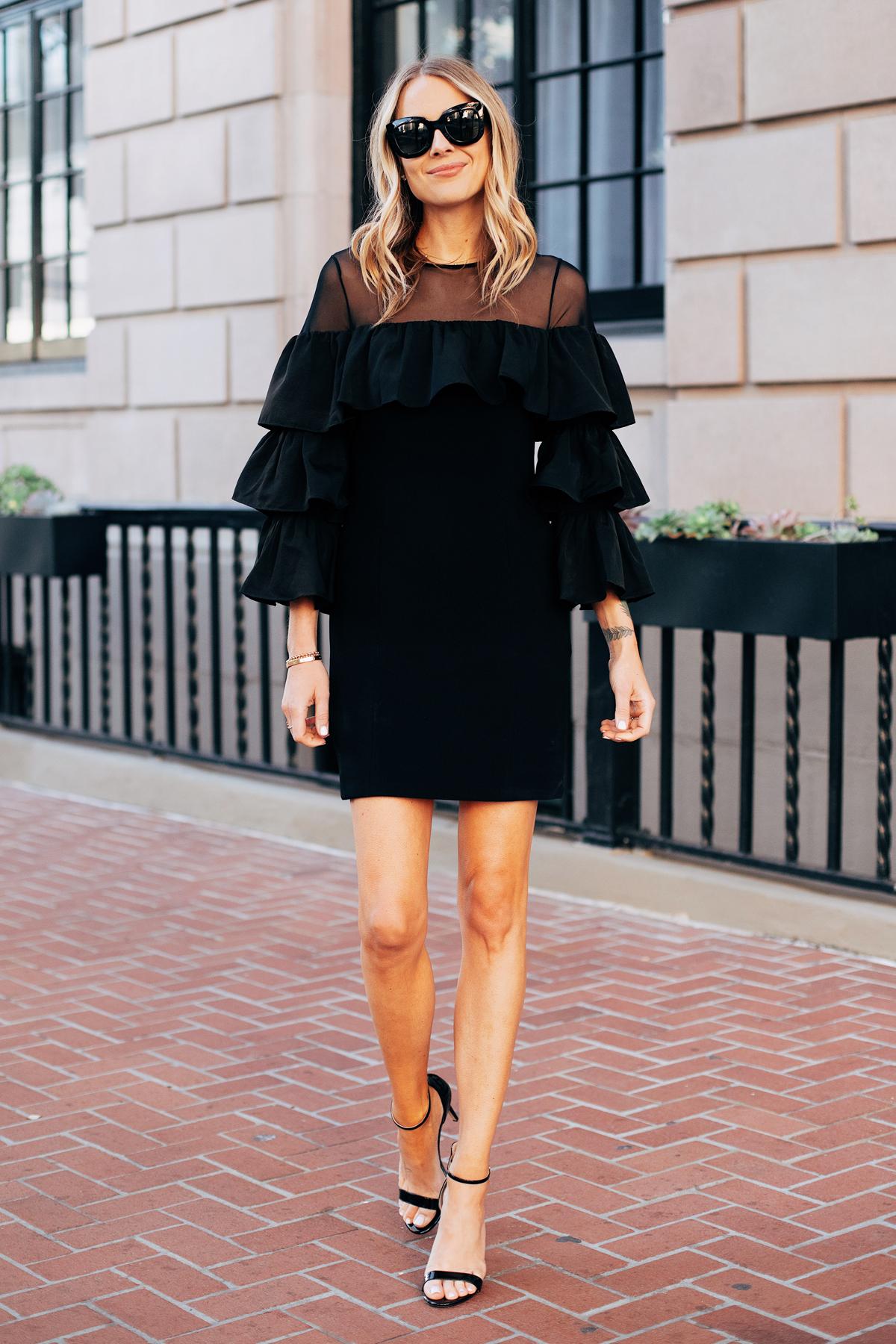 Fashion Jackson Wearing Black Tiered Holiday Dress Black Heeled Sandals 3