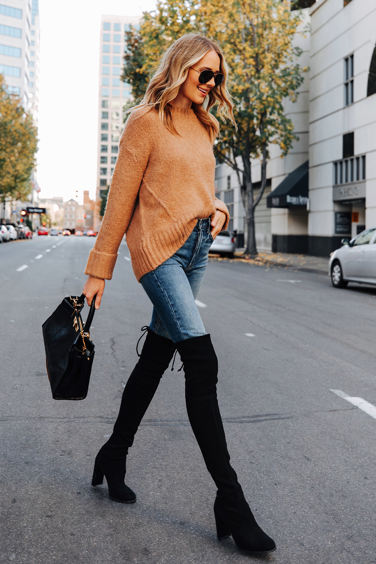 Fashion Jackson Wearing Camel Sweater Stuart Weitzman Black Over the Knee Boots Fendi Peekaboo Black Handbag 2