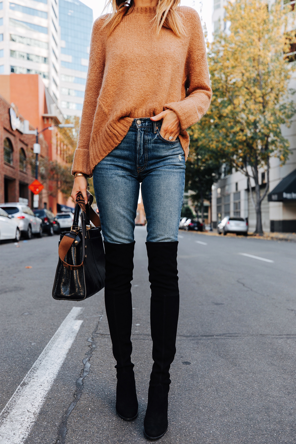 Fashion Jackson Wearing Camel Sweater Stuart Weitzman Black Over the Knee Boots Fendi Peekaboo Black Handbag 3