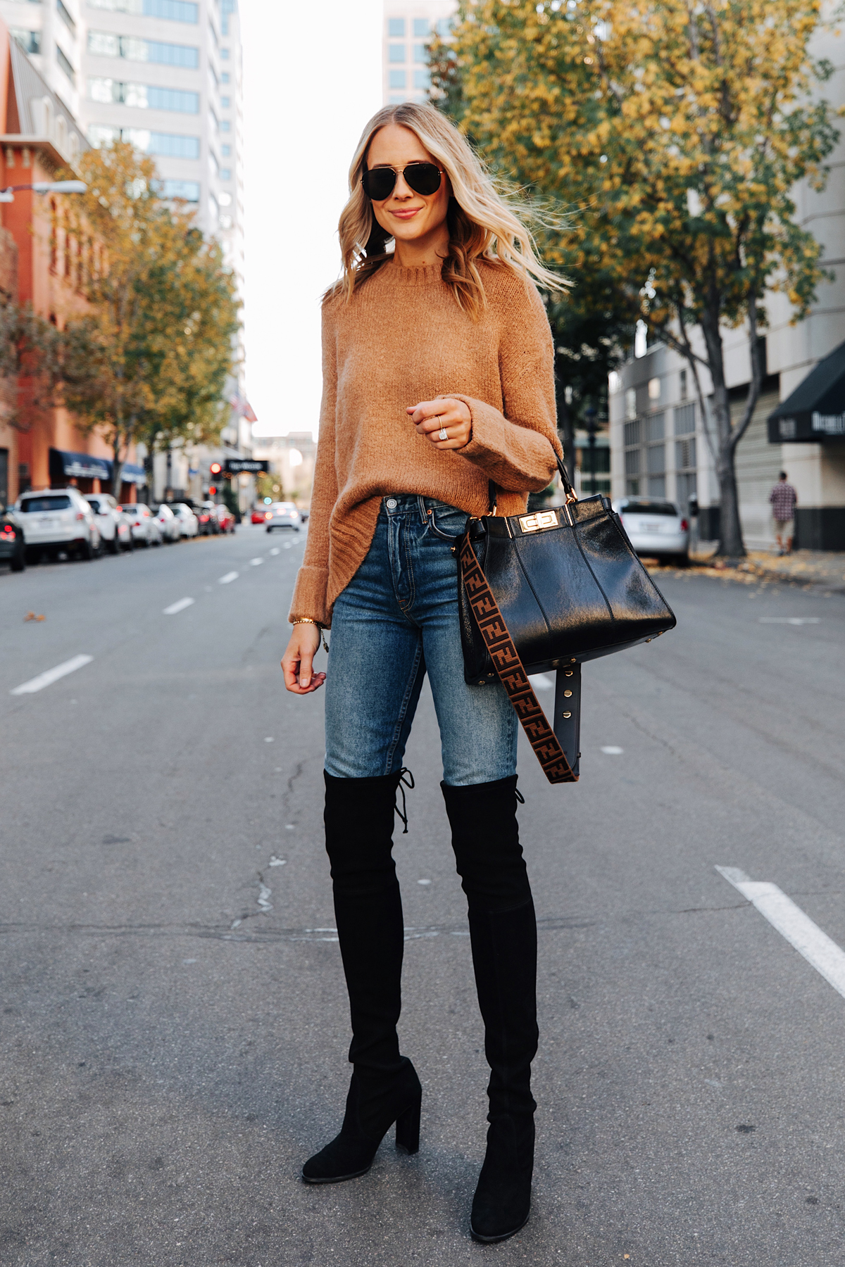 Fashion Jackson Wearing Camel Sweater Stuart Weitzman Black Over the Knee Boots Fendi Peekaboo Black Handbag