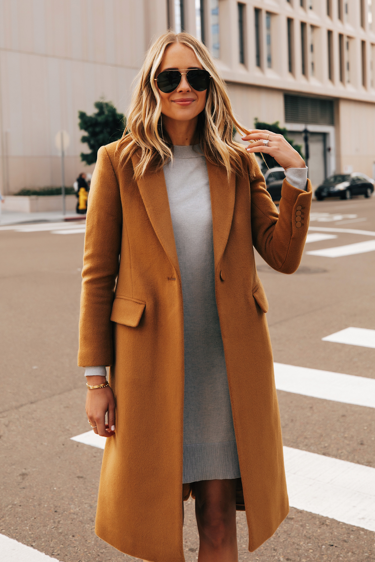 Fashion Jackson Wearing Club Monaco Camel Coat Grey Sweater Dress