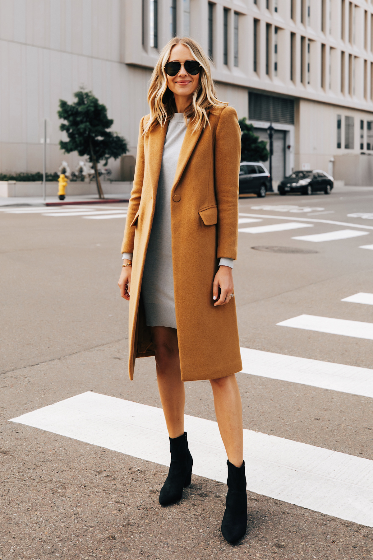 Fashion Jackson Wearing Club Monaco Camel Coat Grey Sweater Dress Black Booties 1