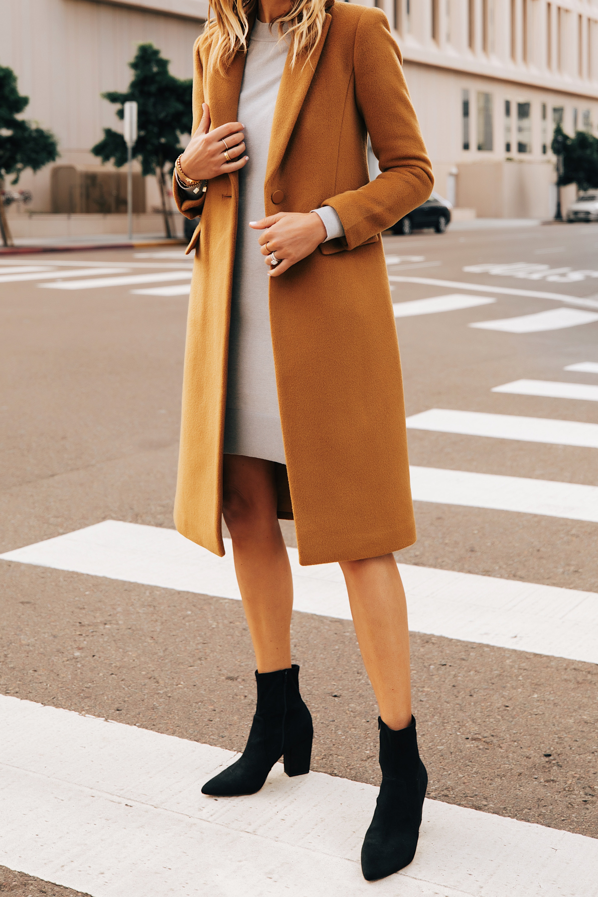 Fashion Jackson Wearing Club Monaco Camel Coat Grey Sweater Dress Black Booties 2
