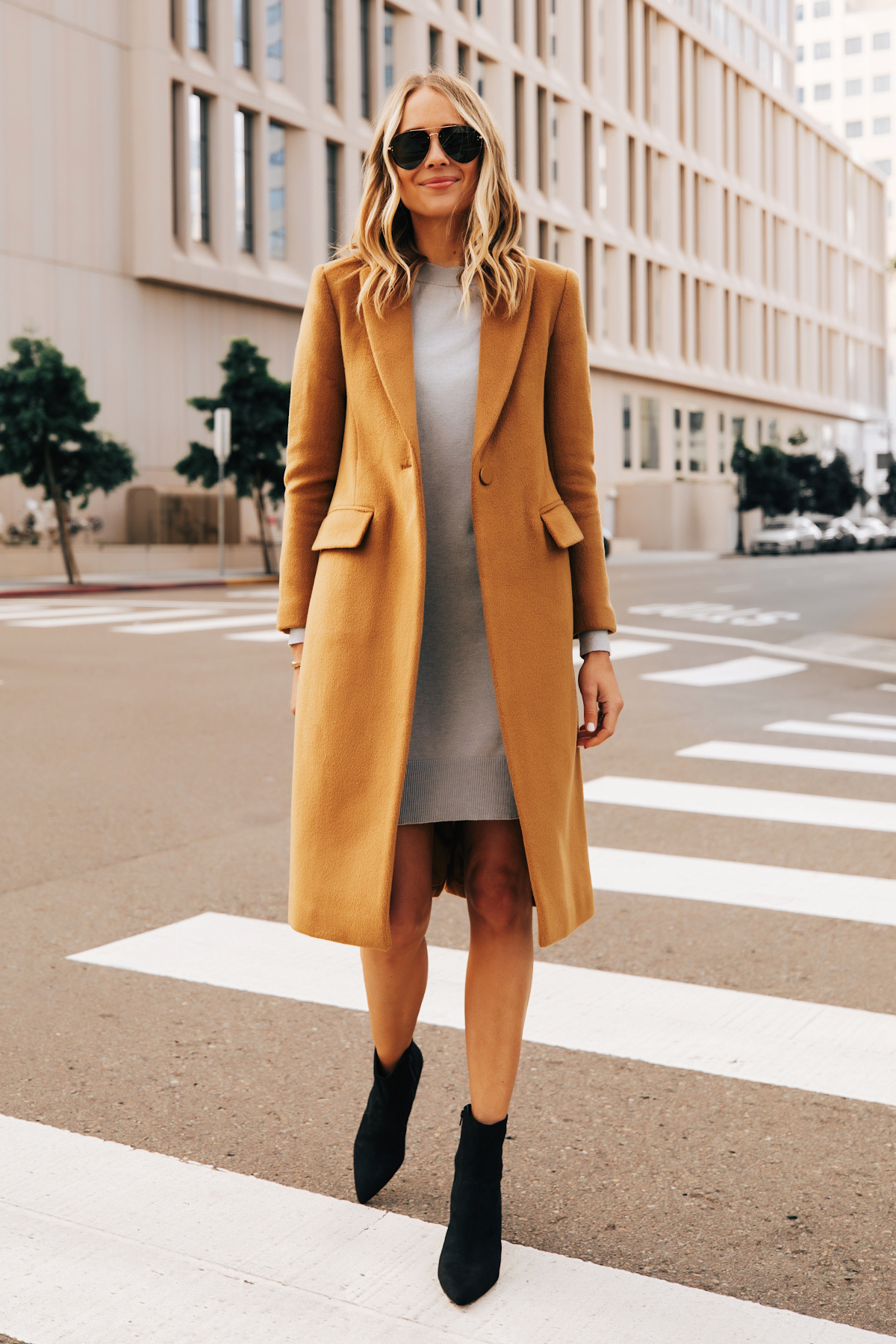 Fashion Jackson Wearing Club Monaco Camel Coat Grey Sweater Dress Black Booties