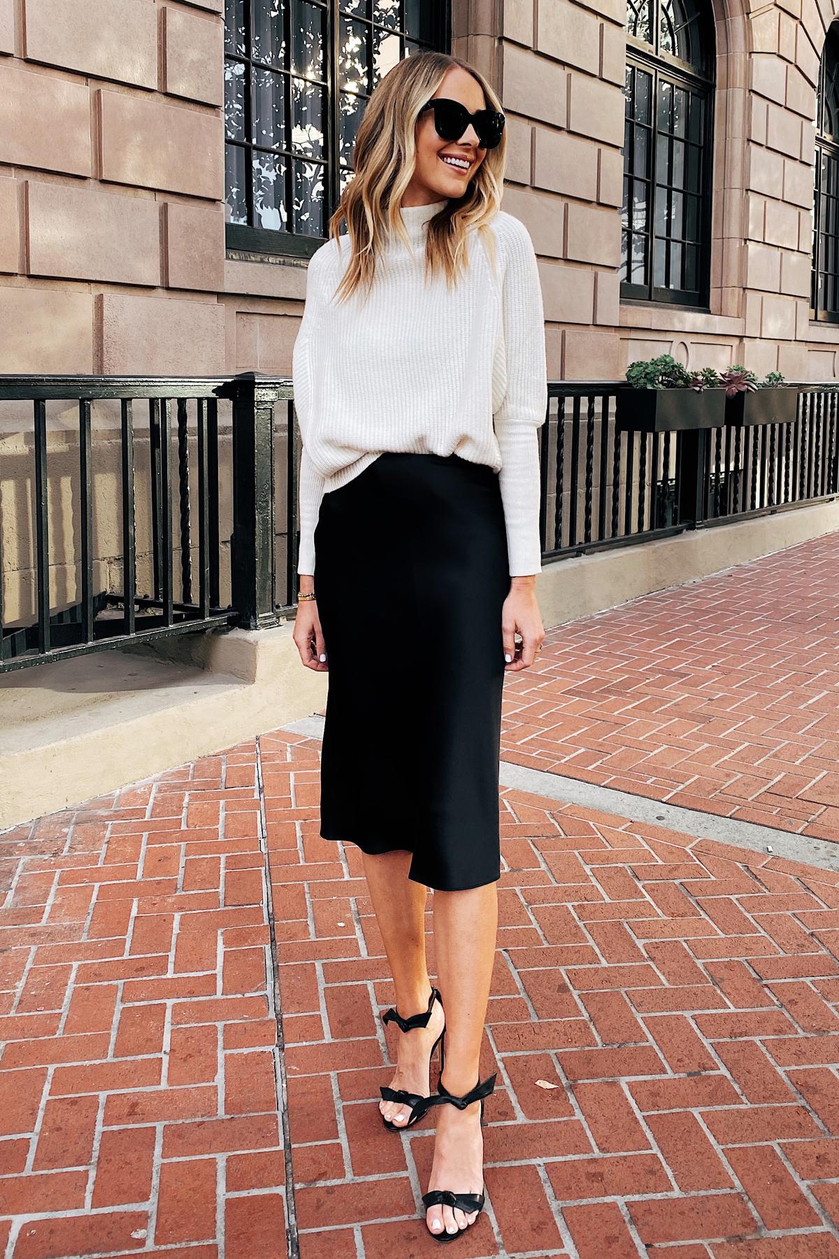 Fashion Jackson Wearing Club Monaco White Sweater Club Monaco Black Slip Skirt NYE Outfit
