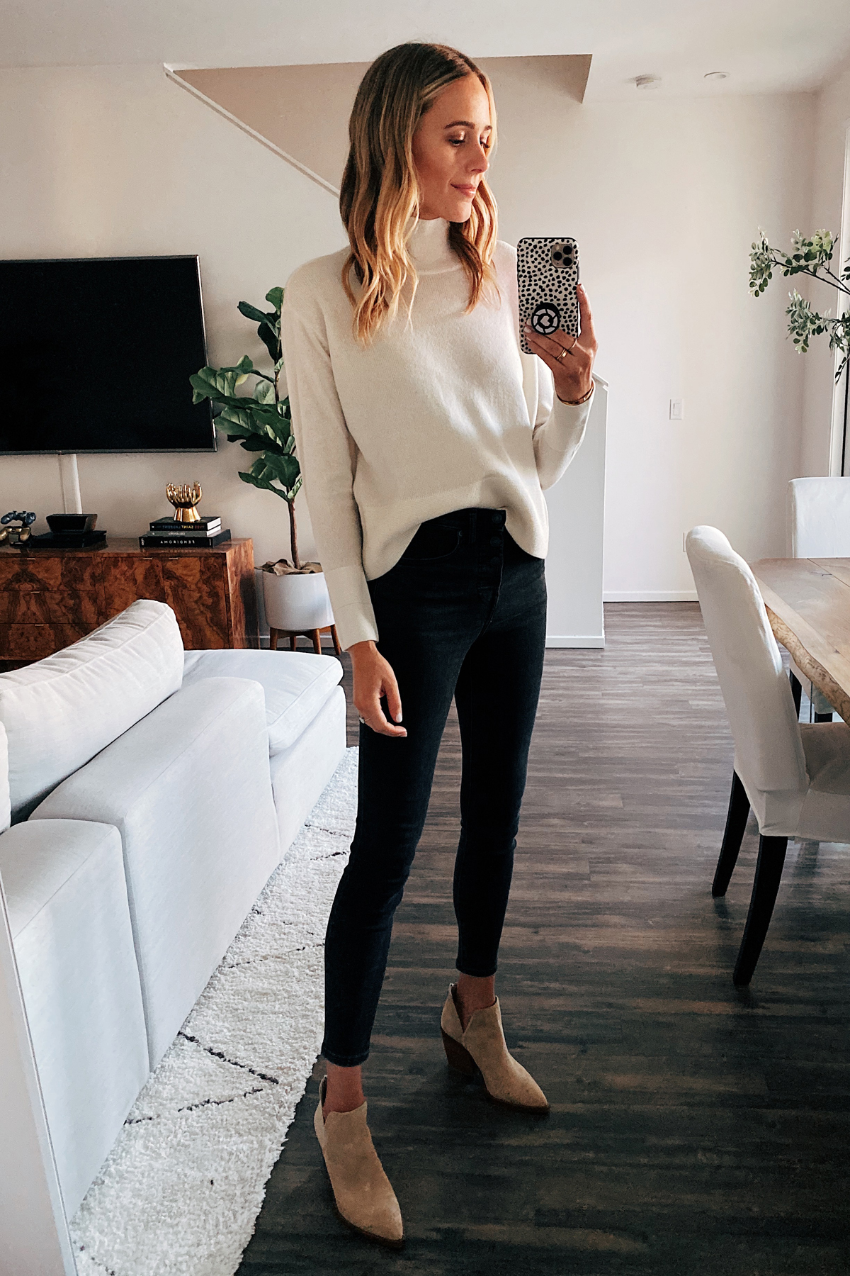 Fashion Jackson Wearing Everlane Mockneck Cashmere Sweater Black Skinny Jeans