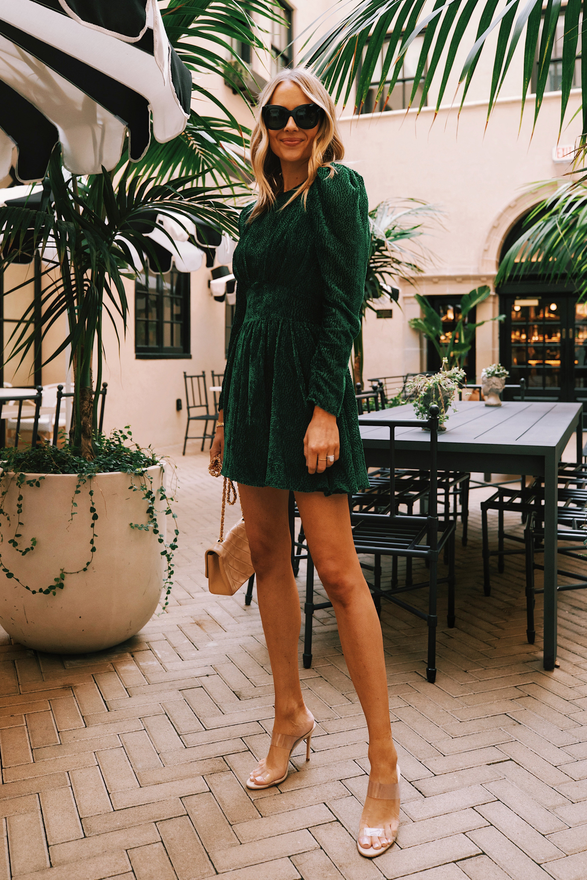 Fashion Jackson Wearing Green Holiday Dress Clear Heeled Sandals