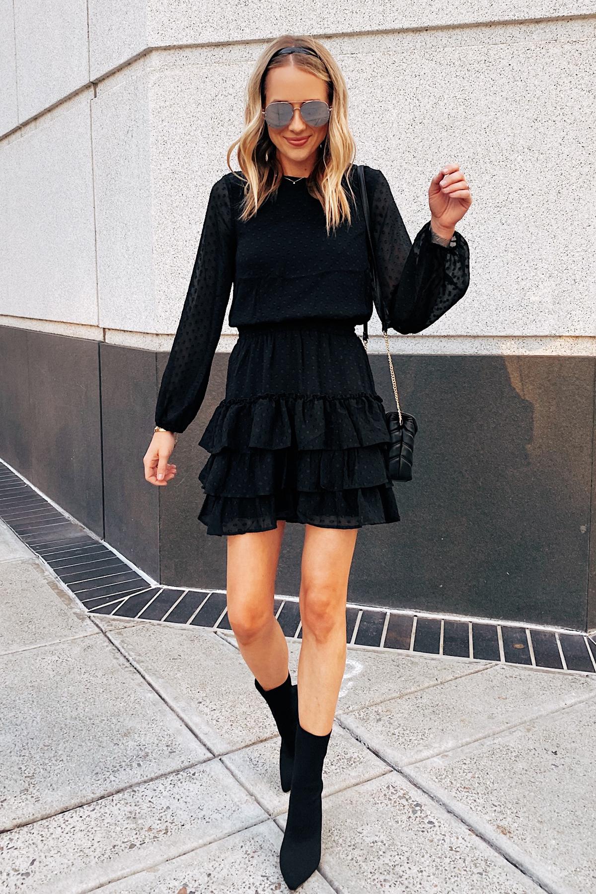 Fashion Jackson Wearing Little Black Dress Black Booties NYE Outfit