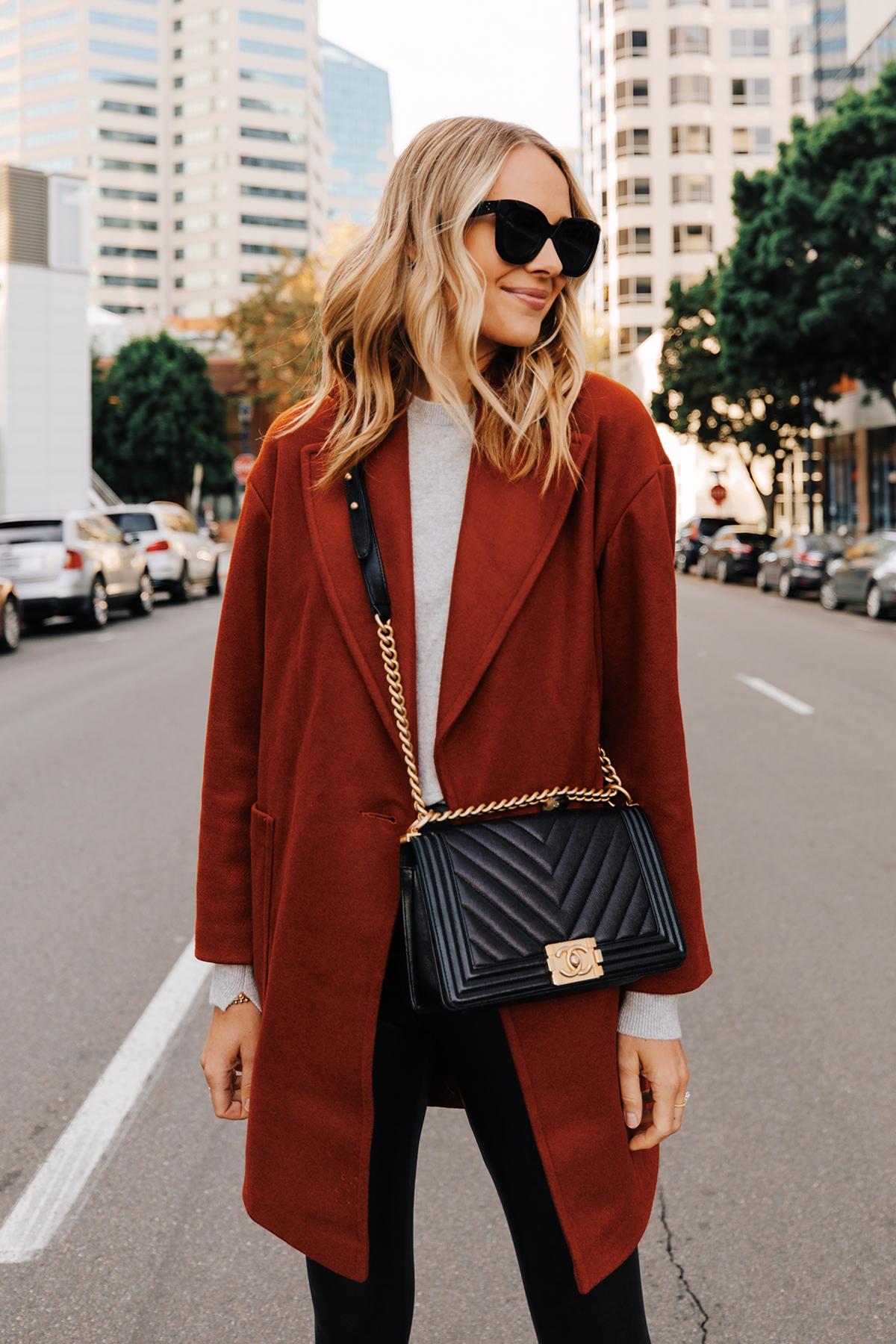 Fashion Jackson Wearing Red Wool Coat Grey Sweater Commando Faux Leather Leggings Chanel Black Boy Bag 1