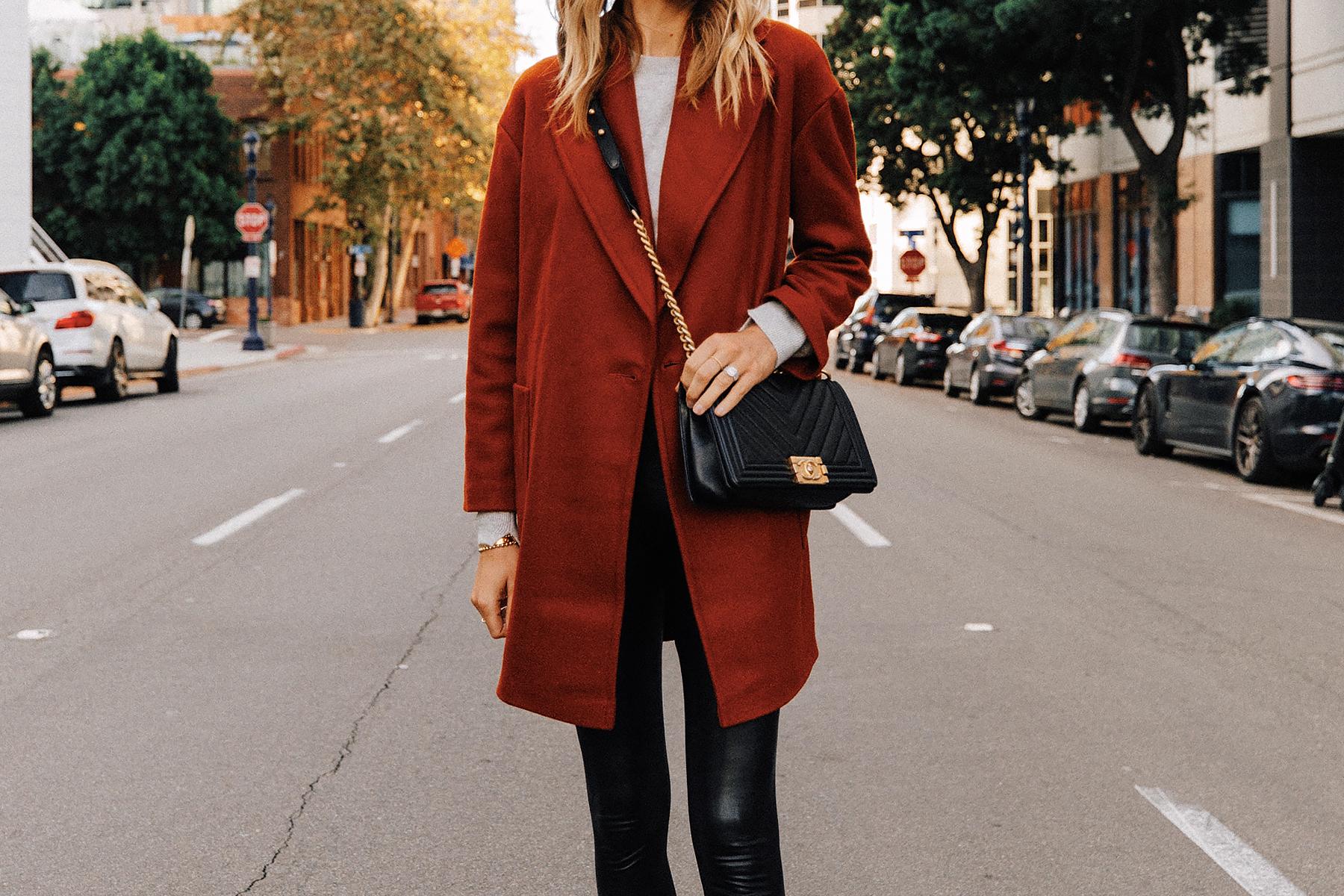 Fashion Jackson Wearing Red Wool Coat Grey Sweater Commando Faux Leather Leggings Chanel Black Boy Bag 2