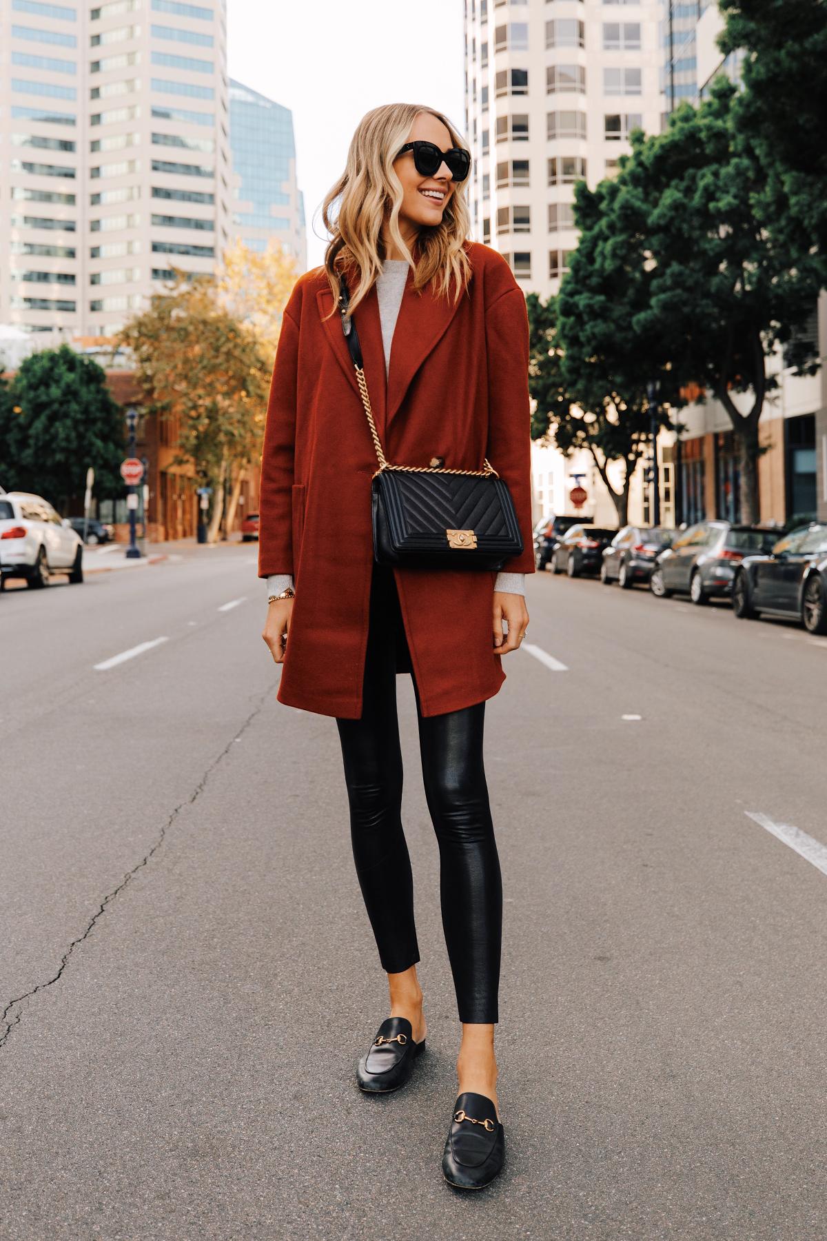 Fashion Jackson Wearing Topshop Red Wool Coat Grey Sweater Commando Faux Leather Leggings Gucci Mules Chanel Black Boy Bag