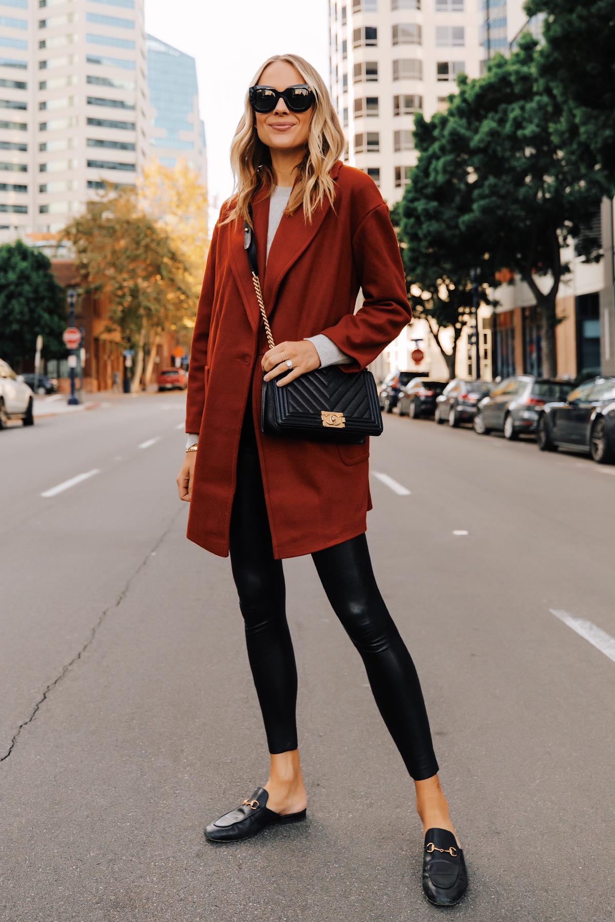 Fashion Jackson Wearing Red Wool Coat Grey Sweater Commando Faux Leather Leggings Gucci Mules Chanel Black Boy Bag