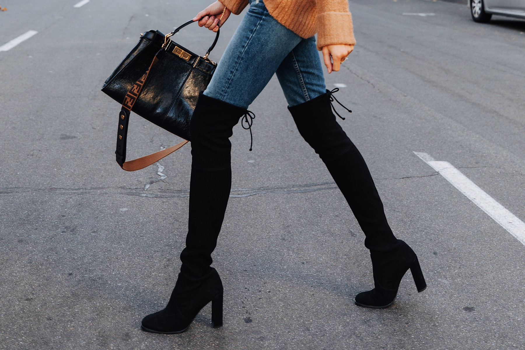Fashion Jackson Wearing Stuart Weitzman Tieland Black Over the Knee Boots Fendi Peekaboo Black Handbag