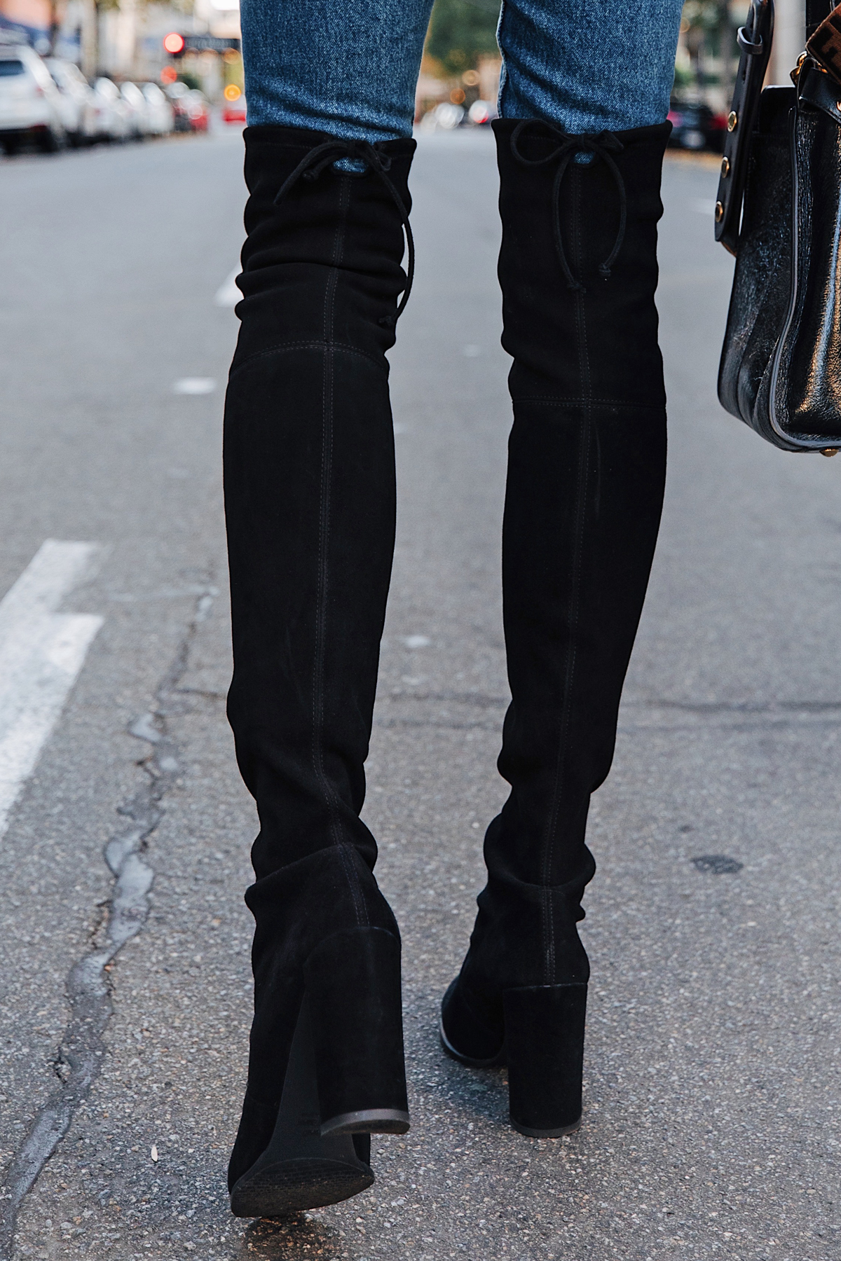 Fashion Jackson Wearing Stuart Weitzman Tieland Black Over the Knee Boots