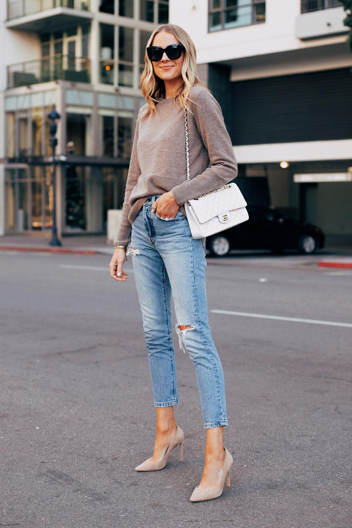 Fashion Jackson Wearing Tan Cashmere Sweater Leivs Ripped Jeans Tan Pumps White Chanel Handbag