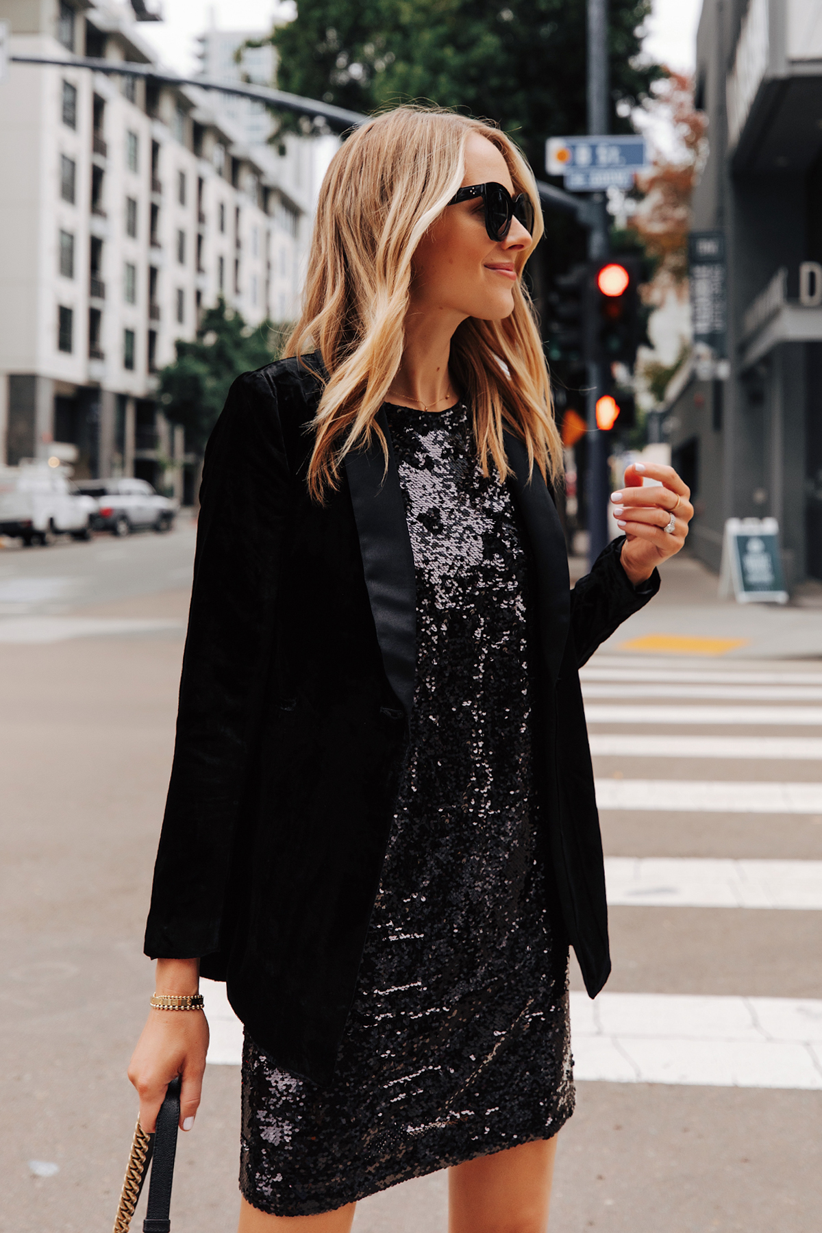 Fashion Jackson Wearing Walmart Black Velvet Blazer Black Sequin Dress 1