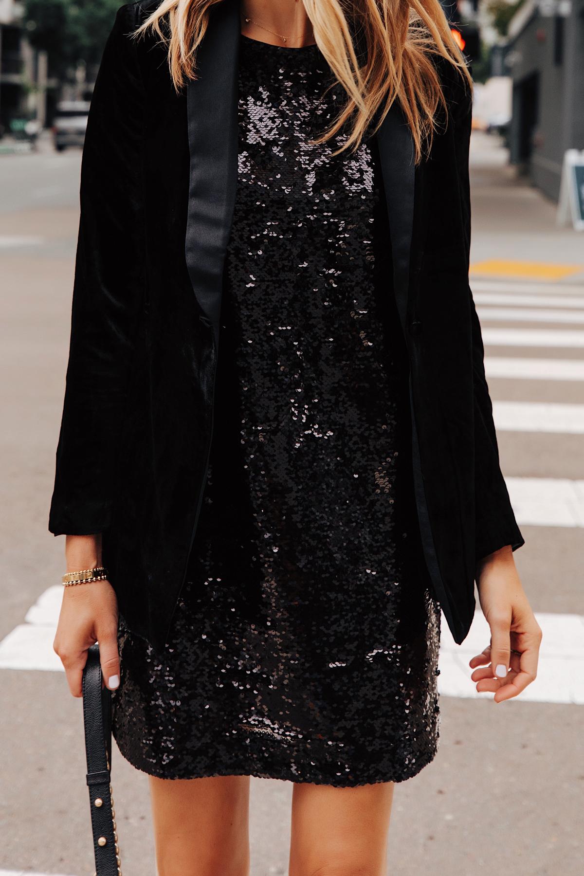 Fashion Jackson Wearing Walmart Black Velvet Blazer Black Sequin Dress 2