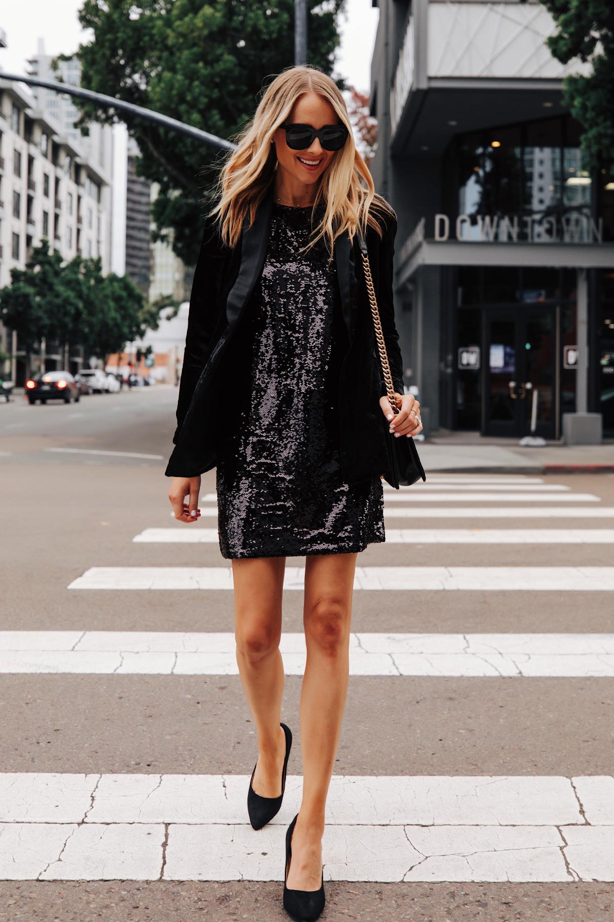 Fashion Jackson Wearing Walmart Black Velvet Blazer Black Sequin Dress Black Pumps 1