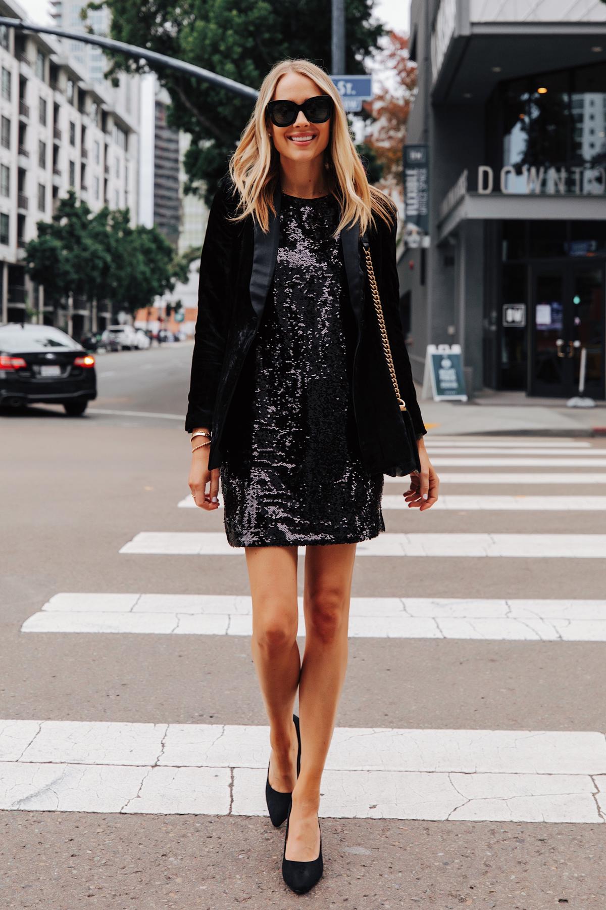 Fashion Jackson Wearing Walmart Black Velvet Blazer Black Sequin Dress Black Pumps