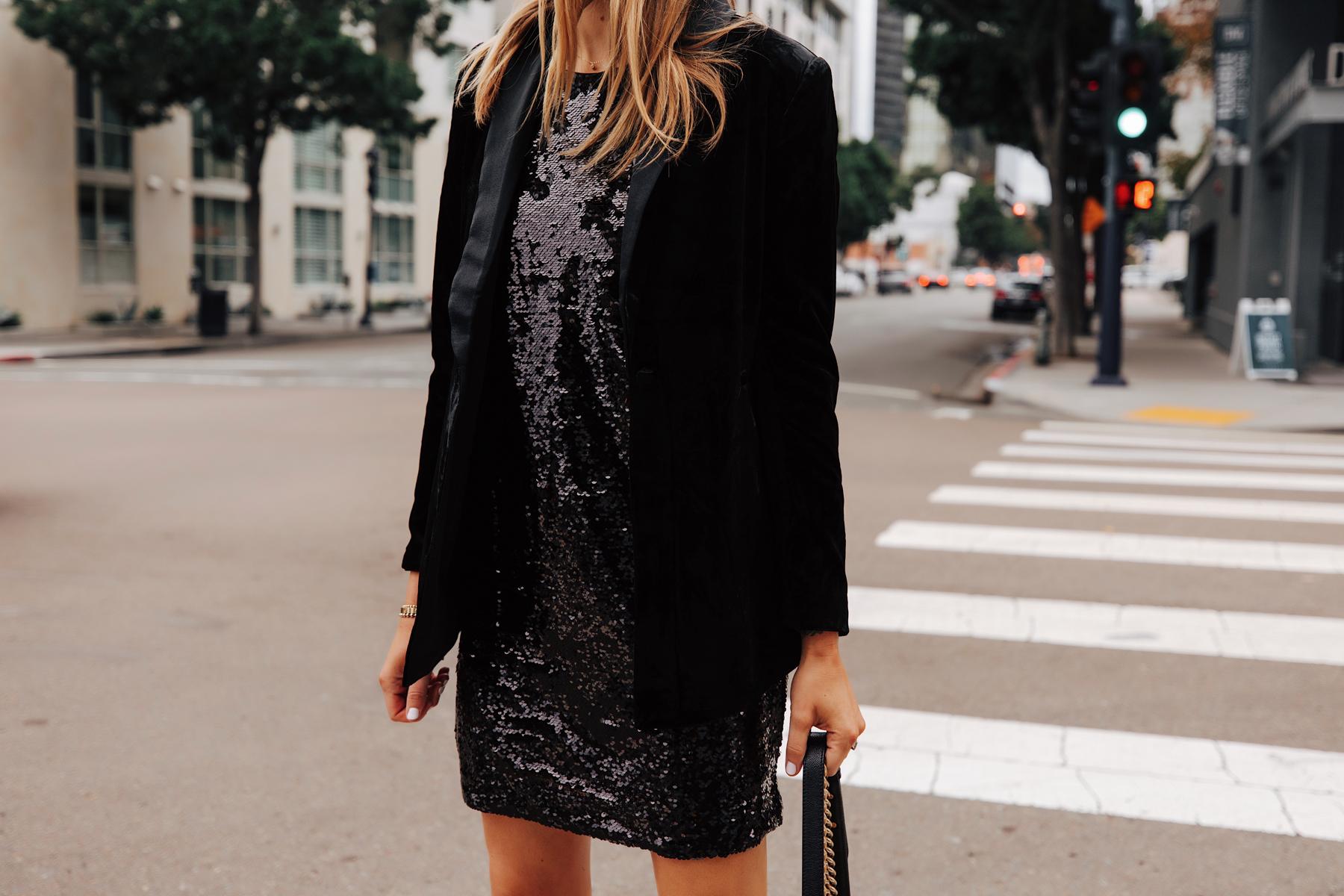 Fashion Jackson Wearing Walmart Black Velvet Blazer Black Sequin Dress