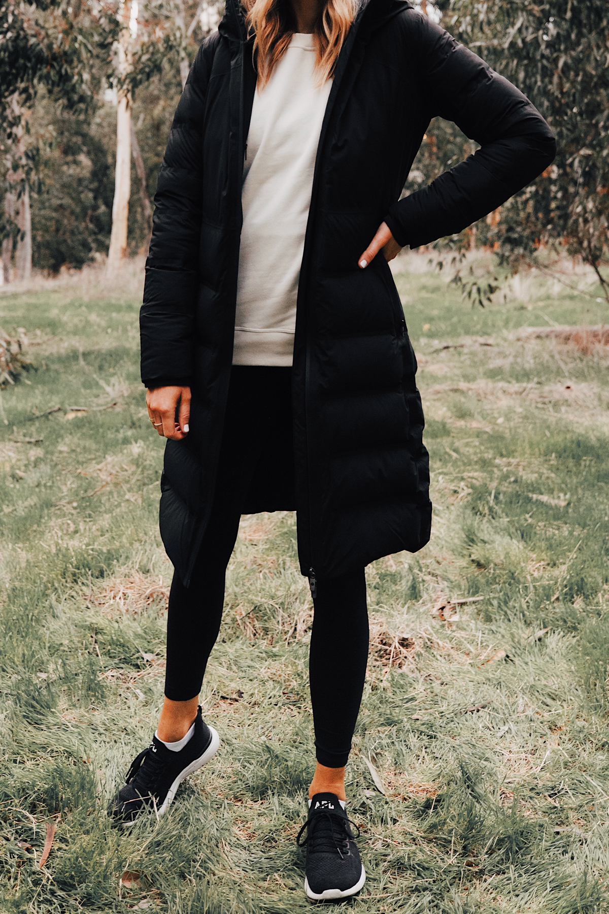 Fashion Jackson Wearing lululemon Black Sleet Street Long Jacket Black Beanie Black Leggings San Diego Hiking Trails