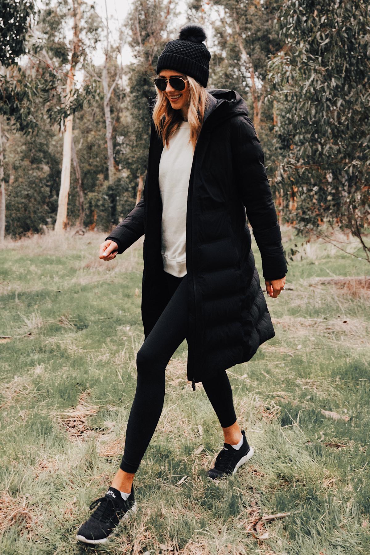 Fashion Jackson Wearing lululemon Black Sleet Street Long Jacket Black Beanie Black Leggings hikes in San Diego 1